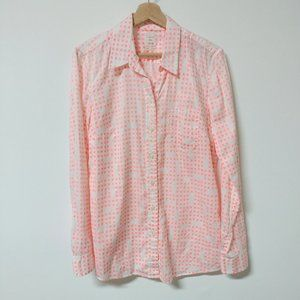 Gap The Fitted Boyfriend Shirt Med Tall MT Neon Pink White Polka Dot 100% Cotton